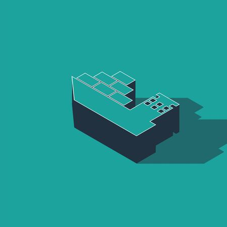 Isometric Cargo ship icon isolated on green background. Vector Illustration