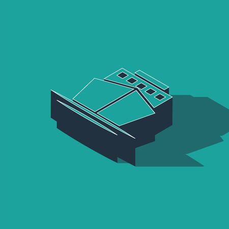 Isometric Ship icon isolated on green background. Vector Illustration