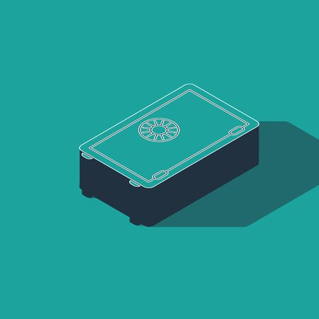 Isometric Safe icon isolated on green background. The door safe a bank vault with a combination lock. Reliable Data Protection. Vector Illustration Çizim