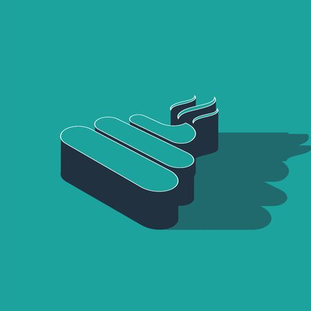 Isometric Shit icon isolated on green background. Vector Illustration
