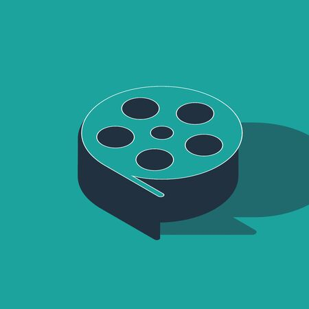Isometric Film reel icon isolated on green background. Vector Illustration Illustration