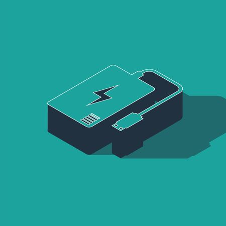 Isometric Power bank with different charge cable icon isolated on green background. Portable charging device. Vector Illustration