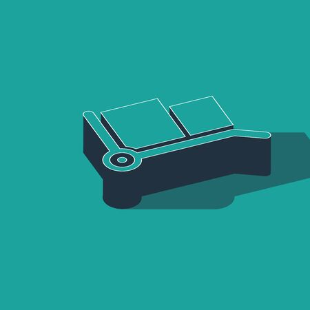 Isometric Hand truck and boxes icon isolated on green background. Dolly symbol. Vector Illustration
