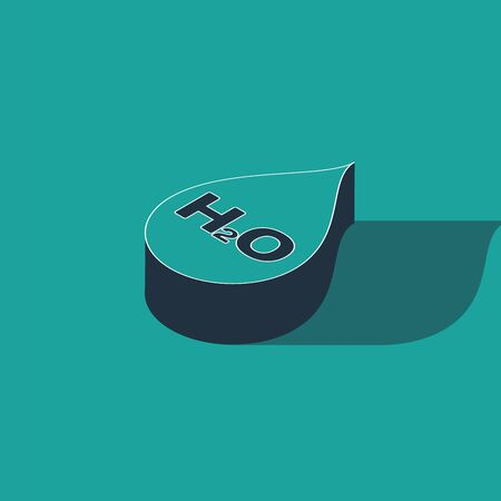 Isometric Water drop with H2O icon isolated on green background. Water formula. Vector Illustration