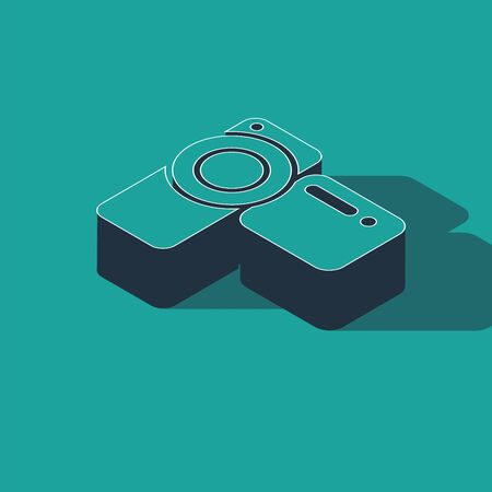 Isometric Cinema camera icon isolated on green background. Video camera. Movie sign. Film projector. Vector Illustration