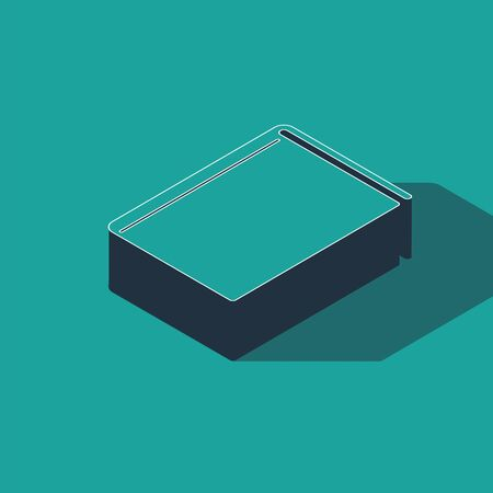 Isometric Book icon isolated on green background. Vector Illustration
