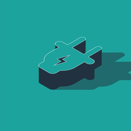 Isometric Electric plug icon isolated on green background. Concept of connection and disconnection of the electricity. Vector Illustration