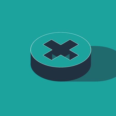 Isometric Medical cross in circle icon isolated on green background. First aid medical symbol. Vector Illustration