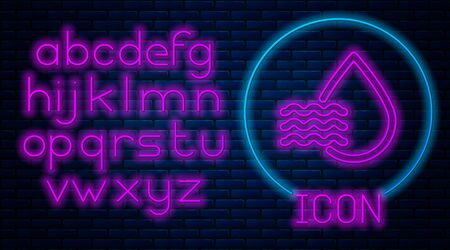 Glowing neon Water drop percentage icon isolated on brick wall background. Humidity analysis. Neon light alphabet. Vector Illustration 스톡 콘텐츠 - 133559981
