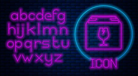 Glowing neon Delivery package box with fragile content symbol of broken glass icon isolated on brick wall background. Box, package, parcel sign. Neon light alphabet. Vector Illustration Standard-Bild - 133559991