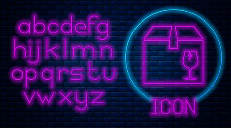 Glowing neon Delivery package box with fragile content symbol of broken glass icon isolated on brick wall background. Box, package, parcel sign. Neon light alphabet. Vector Illustration Standard-Bild - 133559992