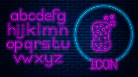 Glowing neon Sponge with bubbles icon isolated on brick wall background. Wisp of bast for washing dishes. Neon light alphabet. Vector Illustration Иллюстрация