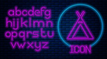 Glowing neon Tourist tent icon isolated on brick wall background. Camping symbol. Neon light alphabet. Vector Illustration