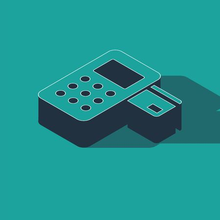 Isometric Pos terminal with inserted credit card icon isolated on green background. Payment terminal transaction. Vector Illustration