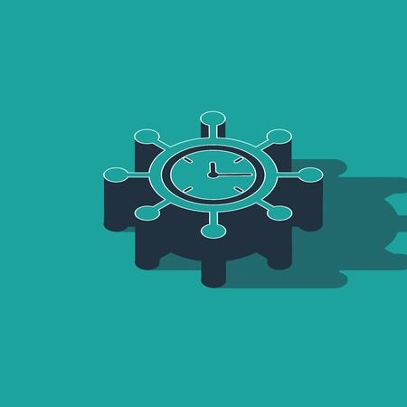 Isometric Clock and gear icon isolated on green background. Time Management symbol. Business concept. Hub and spokes and clock solid icon. Vector Illustration Çizim