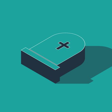 Isometric Tombstone with cross icon isolated on green background. Grave icon. Vector Illustration  イラスト・ベクター素材