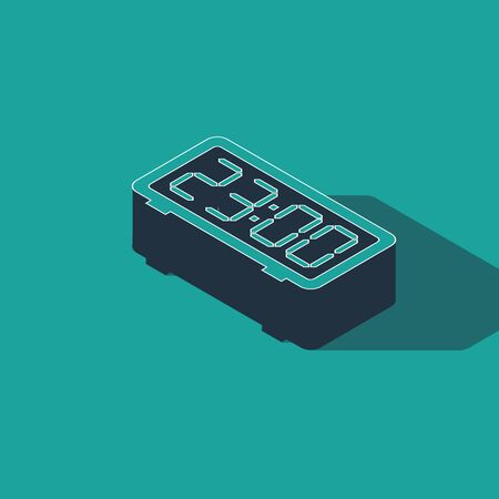 Isometric Digital alarm clock icon isolated on green background. Electronic watch alarm clock. Time icon. Vector Illustration