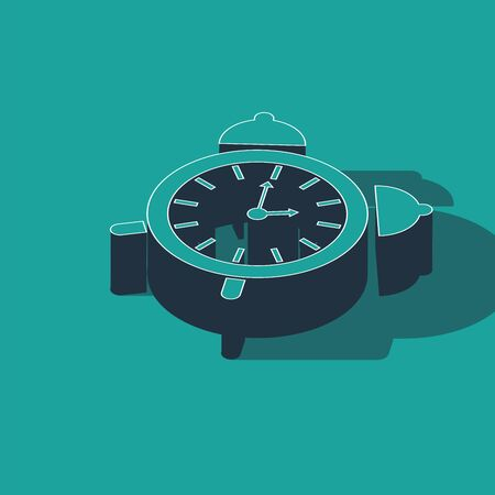 Isometric Alarm clock icon isolated on green background. Wake up, get up concept. Time sign. Vector Illustration