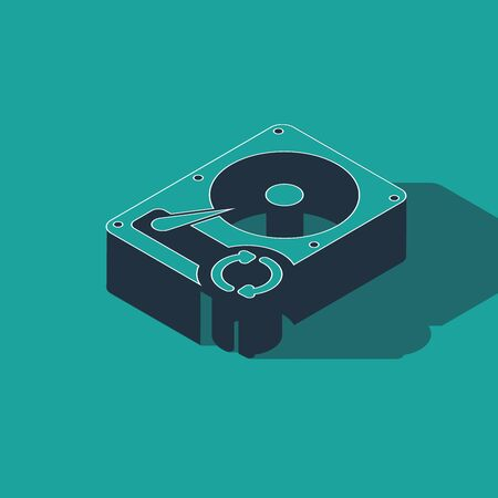 Isometric Hard disk drive HDD sync refresh icon isolated on green background. Vector Illustration