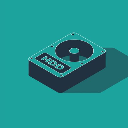 Isometric Hard disk drive HDD icon isolated on green background. Vector Illustration