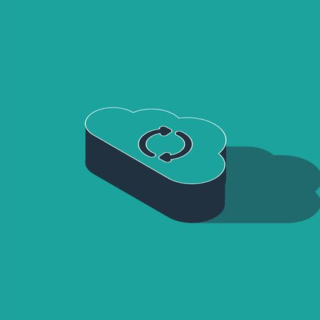 Isometric Cloud sync refresh icon isolated on green background. Cloud and arrows. Vector Illustration