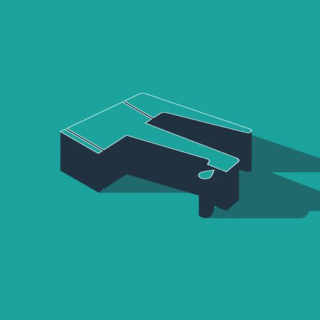Isometric Water tap with a falling water drop icon isolated on green background. Vector Illustration