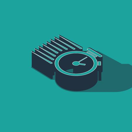 Isometric Stopwatch icon isolated on green background. Time timer sign. Vector Illustration Stok Fotoğraf - 133396958