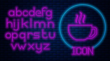 Glowing neon Coffee cup flat icon isolated on brick wall background. Tea cup. Hot drink coffee. Neon light alphabet. Vector Illustration