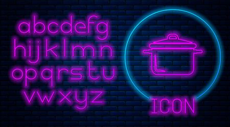 Glowing neon Cooking pot icon isolated on brick wall background. Boil or stew food symbol. Neon light alphabet. Vector Illustration