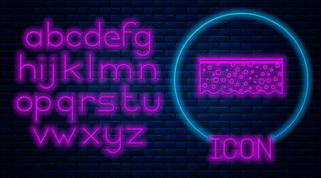 Glowing neon Sponge with bubbles icon isolated on brick wall background. Wisp of bast for washing dishes. Cleaning service logo. Neon light alphabet. Vector Illustration