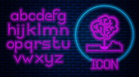 Glowing neon Planting a tree in the ground icon isolated on brick wall background. Gardening, agriculture, caring for environment. Neon light alphabet. Vector Illustration