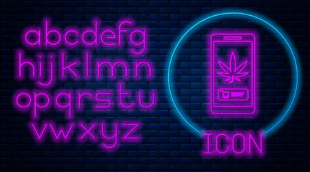 Glowing neon Mobile phone and medical marijuana or cannabis leaf icon isolated on brick wall background. Online buying symbol. Supermarket basket. Neon light alphabet. Vector Illustration Stock fotó - 133396870
