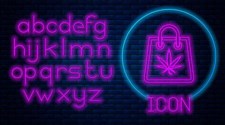Glowing neon Shopping paper bag of medical marijuana or cannabis leaf icon isolated on brick wall background. Buying cannabis. Hemp symbol. Neon light alphabet. Vector Illustration Stock fotó - 133396871