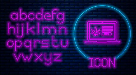 Glowing neon Laptop and medical marijuana or cannabis leaf icon isolated on brick wall background. Online buying symbol. Supermarket basket. Neon light alphabet. Vector Illustration Stock fotó - 133396876