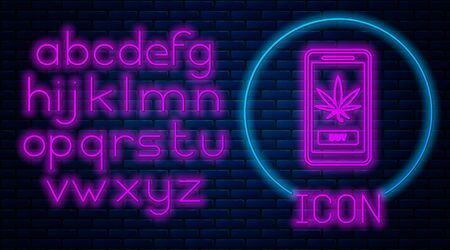 Glowing neon Mobile phone and medical marijuana or cannabis leaf icon isolated on brick wall background. Online buying symbol. Supermarket basket. Neon light alphabet. Vector Illustration Stock fotó - 133396878