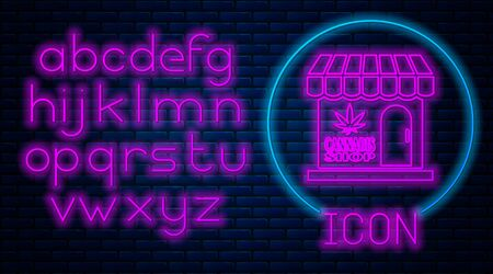 Glowing neon Marijuana and cannabis store icon isolated on brick wall background. Equipment and accessories for smoking, storing medical cannabis. Neon light alphabet. Vector Illustration