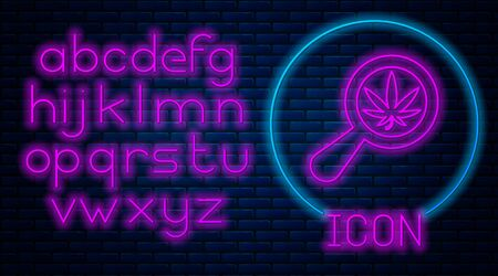 Glowing neon Magnifying glass and medical marijuana or cannabis leaf icon isolated on brick wall background. Hemp symbol. Neon light alphabet. Vector Illustration