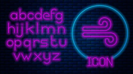 Glowing neon Wind icon isolated on brick wall background. Windy weather. Neon light alphabet. Vector Illustration