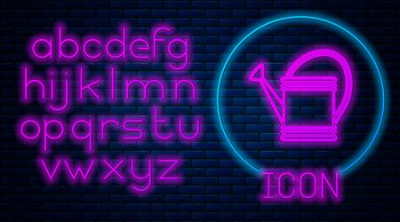 Glowing neon Watering can icon isolated on brick wall background. Irrigation symbol. Neon light alphabet. Vector Illustration