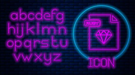 Glowing neon RUBY file document. Download ruby button icon isolated on brick wall background. RUBY file symbol. Neon light alphabet. Vector Illustration