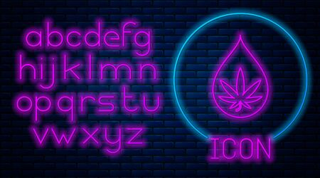 Glowing neon Medical marijuana or cannabis leaf olive oil drop icon isolated on brick wall background. Cannabis extract. Hemp symbol. Neon light alphabet. Vector Illustration Ilustração