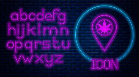 Glowing neon Map pointer and marijuana or cannabis leaf icon isolated on brick wall background. Hemp symbol. Neon light alphabet. Vector Illustration Stock fotó - 133396883