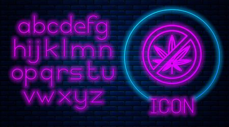 Glowing neon Stop marijuana or cannabis leaf icon isolated on brick wall background. No smoking marijuana. Hemp symbol. Neon light alphabet. Vector Illustration Stock fotó - 133396886