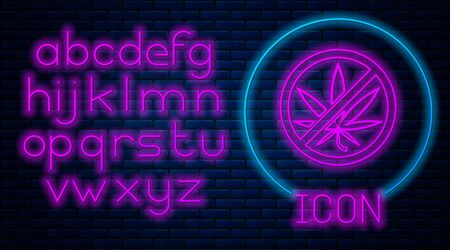 Glowing neon Stop marijuana or cannabis leaf icon isolated on brick wall background. No smoking marijuana. Hemp symbol. Neon light alphabet. Vector Illustration