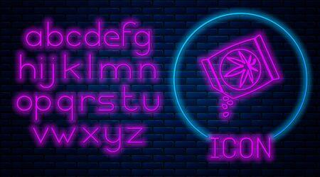 Glowing neon Marijuana or cannabis seeds in a bag icon isolated on brick wall background. Hemp symbol. The process of planting marijuana. Neon light alphabet. Vector Illustration