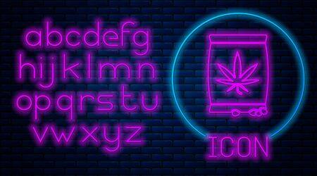 Glowing neon Marijuana or cannabis seeds in a bag icon isolated on brick wall background. Hemp symbol. The process of planting marijuana. Neon light alphabet. Vector Illustration Stock fotó - 133396855