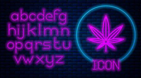 Glowing neon Medical marijuana or cannabis leaf icon isolated on brick wall background. Hemp symbol. Neon light alphabet. Vector Illustration Stock fotó - 133396856