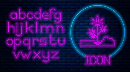 Glowing neon Planting marijuana or cannabis plant in the ground icon isolated on brick wall background. Marijuana growing concept. Hemp symbol. Neon light alphabet. Vector Illustration Illustration