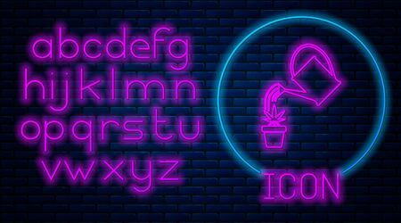 Glowing neon Watering can sprays water drops above marijuana or cannabis plant in pot icon isolated on brick wall background. Marijuana growing concept. Neon light alphabet. Vector Illustration Stock fotó - 133396849