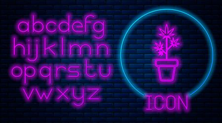 Glowing neon Medical marijuana or cannabis plant in pot icon isolated on brick wall background. Marijuana growing concept. Hemp potted plant. Neon light alphabet. Vector Illustration Stock fotó - 133396851